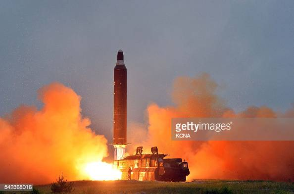 This undated picture released from North Korea's official Korean Central News Agency on June 23 2016 shows a test launch of the surfacetosurface...