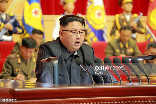 This undated picture released from North Korea's official Korean Central News Agency on August 4 2016 shows North Korean leader Kim JongUn delivering...