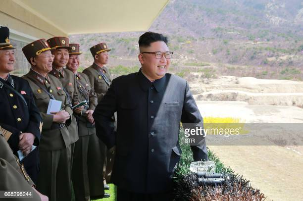 This undated picture released from North Korea's official Korean Central News Agency on April 14 2017 shows North Korean leader Kim JongUn inspecting...