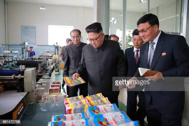 This undated picture released from North Korea's official Korean Central News Agency on May 10 2017 shows North Korean leader Kim JongUn visiting the...