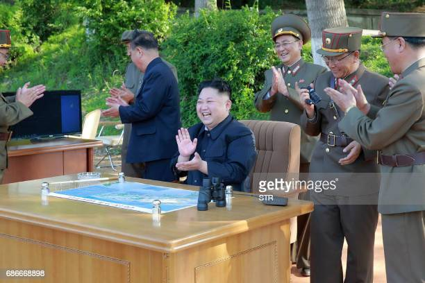 This undated picture released from North Korea's official Korean Central News Agency on May 22 2017 shows North Korean leader Kim JongUn inspecting...