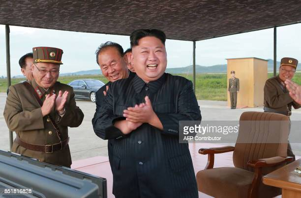 This undated picture released from North Korea's official Korean Central News Agency on September 16 2017 shows North Korean leader Kim JongUn...