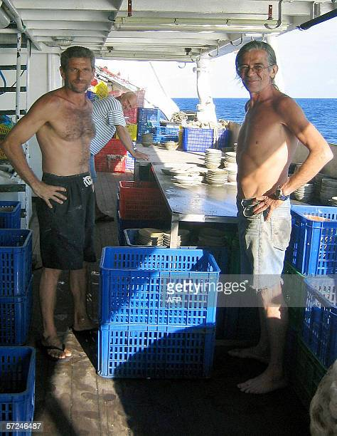 STORY 'INDONESIACRIMEARCHEOLOGYFRANCEGERMANY' This undated picture shows French diver JeanPaul Blancan and his compatriot Daniel Visnikar posing...