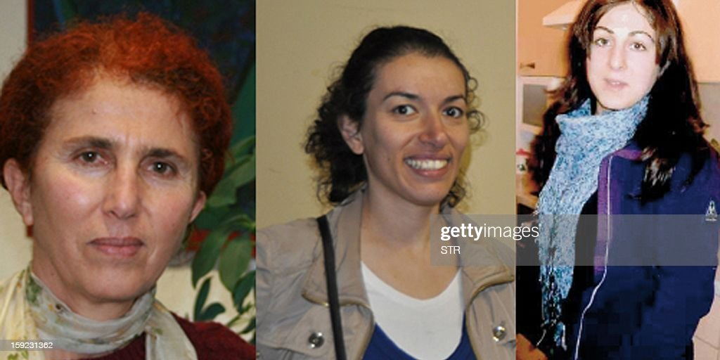 This undated undated combo picture shows Sakine Cansiz (L), Fidan Dogan (C) and Leyla Soylemez (R), the three Kurdish women who were shot dead on January 9, 2013 in Paris in what France's interior minister dubbed an 'assassination'. The women were found in the early hours of January 10 with gunshot wounds to the head inside a Kurdish information centre in the 10th district of the French capital, police and the centre's director said. French Interior Minister Manuel Valls visited the scene of the crime and described the killings as 'assassinations'. The murders came after Turkish media reported on January 9 that the Turkish government and jailed Kurd rebel leader Abdullah Ocalan had agreed on a roadmap to end a three-decade-old insurgency that has claimed tens of thousands of lives. AFP PHOTO / STRINGER