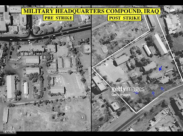 This undated US Central Command image which according to CENTCOM shows Iraqi military headquarters compound before and after a US airstrike in Iraq...