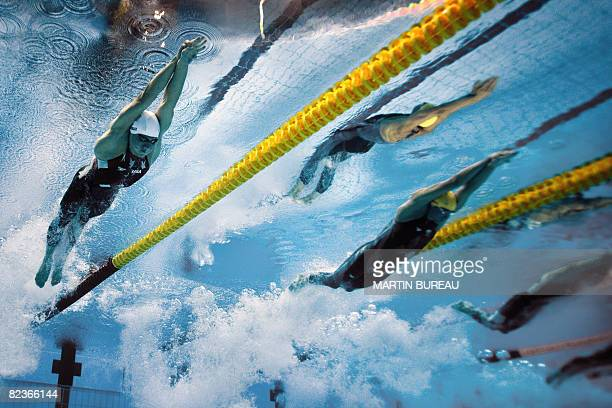 This underwater photograph shows US swimmer Peter Vanderkaay and Australia's Grant Hackett competing during the men's 1500m freestyle swimming heat...