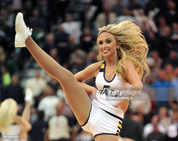 This Utah Jazz dancer performs during the game between the Oklahoma City Thunder and the Utah Jazz at EnergySolutions Arena October 30 2013 in Salt...