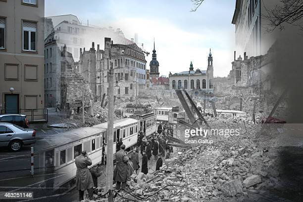 This digital composite image shows Moritzstrasse and the Juedenhof palace in 1946 still wrecked from the Allied firebombing of February 13 1945 as...