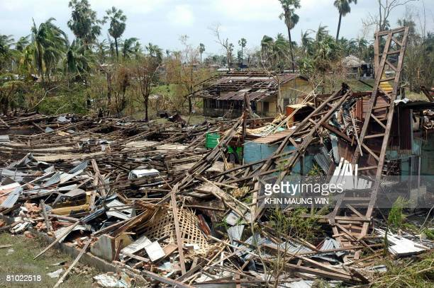 This view shows some of the large scale devastation in the cyclonehit area of Dedaye township some 48 kilometers south of Yangon on May 7 2008...