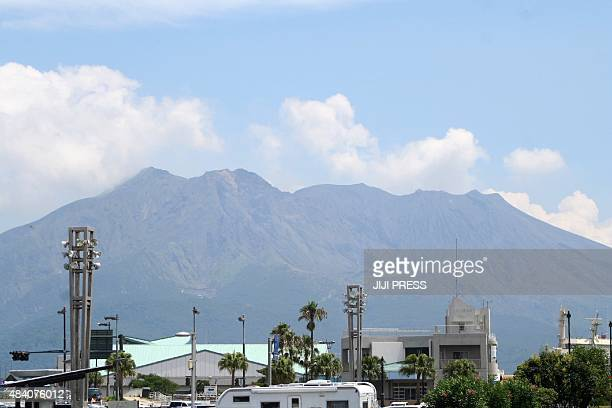 This view taken from the city of Japan's southern city of Kagoshima shows Mount Sakurajima on August 15 2015 Japan's weather agency on August 15...