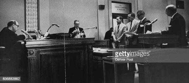 This Was The Scene In Denver District Courtroom Tuesday As Two Of The Accused Policemen Pleaded Innovent From left are District Judge Saul Pinchick...