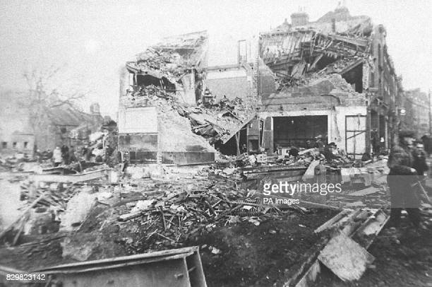 PAP LON 18 221194 This was the scene of the devastation after a German V2 rocket fell on Woolworth's and other stores in New Cross London in November...