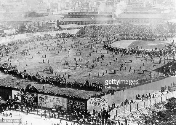 This was the scene of the First World Series as it was played at the Huntington Avenue Ball Field in 1903 where Northeastern University now stands In...