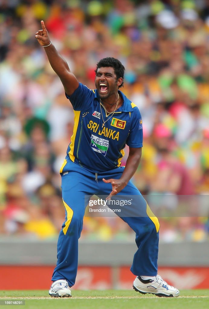 Thisara Perera of Sri Lanka celebrates after claiming the wicket of David Warner of Australia during game four of the Commonwealth Bank one day international series between Australia and Sri Lanka at Sydney Cricket Ground on January 20, 2013 in Sydney, Australia.