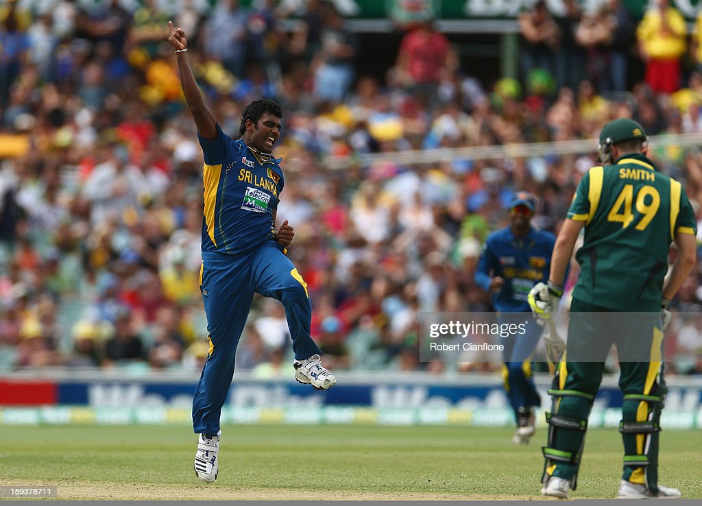 <a gi-track='captionPersonalityLinkClicked' href=/galleries/search?phrase=Thisara+Perera&family=editorial&specificpeople=4884953 ng-click='$event.stopPropagation()'>Thisara Perera</a> of Sri lanka celebrates taking the wicket of Steven Smith of Australia during game two of the Commonwealth Bank One Day International series between Australia and Sri Lanka at Adelaide Oval on January 13, 2013 in Adelaide, Australia.