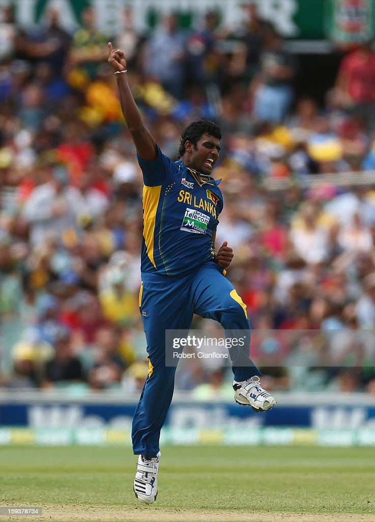 Thisara Perera of Sri Lanka celebrates taking the wicket of Steven Smith of Australia during game two of the Commonwealth Bank One Day International series between Australia and Sri Lanka at Adelaide Oval on January 13, 2013 in Adelaide, Australia.