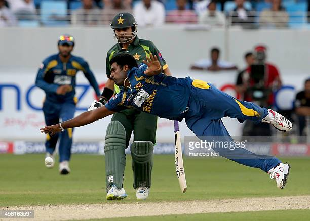 Thisara Perera of Sri Lanka in action during the second OneDay International match between Sri Lanka and Pakistan at the Dubai Sports City Cricket...