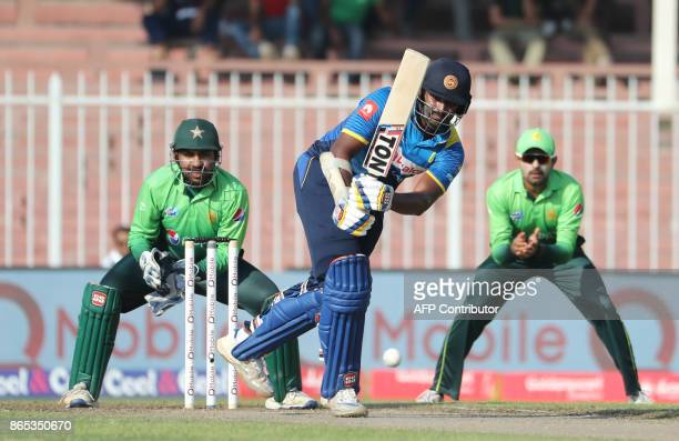 Thisara Perera of Sri Lanka plays a shot during the fifth one day international cricket match between Sri Lanka and Pakistan at Sharjah Cricket...