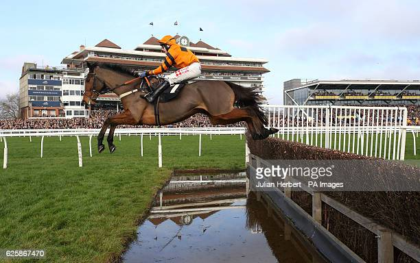Thistlecrack ridden by Tom Scudamore clears the water jump before going on to win The bet365 Novices' Steeple Chase Race run during Hennessy Gold Cup...