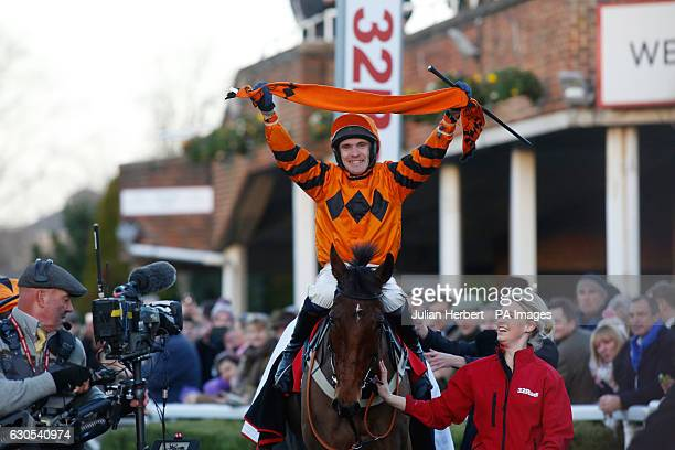Thistlecrack ridden by Tom Scudamore returns after winning The 32Red King George VI Steeple Chase Race run during day one of the 32Red Winter...