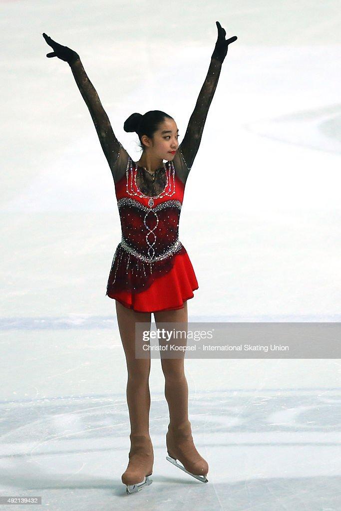 Thita Lamsam of Thailand skates during the junior ladies free skating of the ISU Junior Grand Prix at Dom Sportova on October 10 2015 in Zagreb...