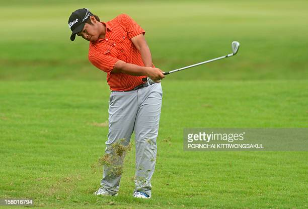 Thitiphum Chuayprakong of Thailand hits a shot during the final round of the 1 million USD Thailand Golf Championship at the par72 Amata Spring...