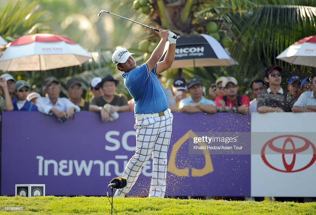Thitiphun Chuayprakong of Thailand plays a shot during round three of the Thailand Golf Championship at Amata Spring Country Club on December 8, 2012 in Bangkok, Thailand.