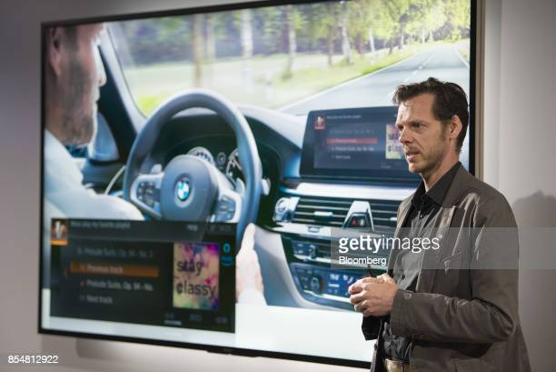 Thom Brenner vice president of connected car services at Bayerische Motoren Werke AG speaks during an Amazoncom Inc product reveal launch event in...