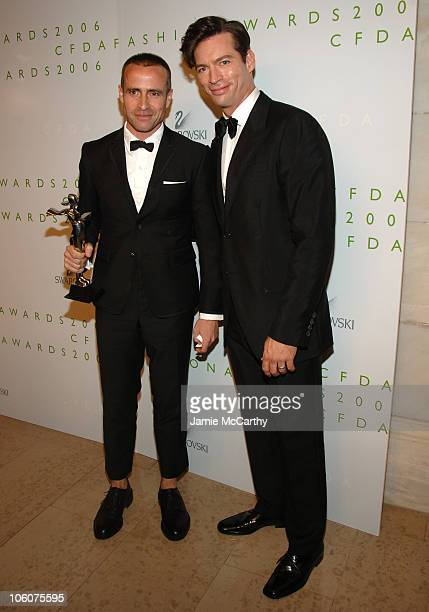 Thom Browne and Harry Connick Jr during 2006 CFDA Awards Green Room at New York Public Library in New York New York United States