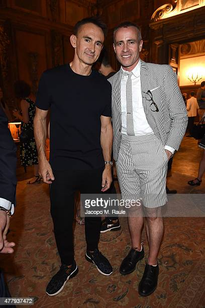 Thom Browne and Neil Barrett attend GQ Party for Jim Moore during Milan Menswear Fashion Week Spring/Summer 2016 at Casa Degli Atellani on June 20...