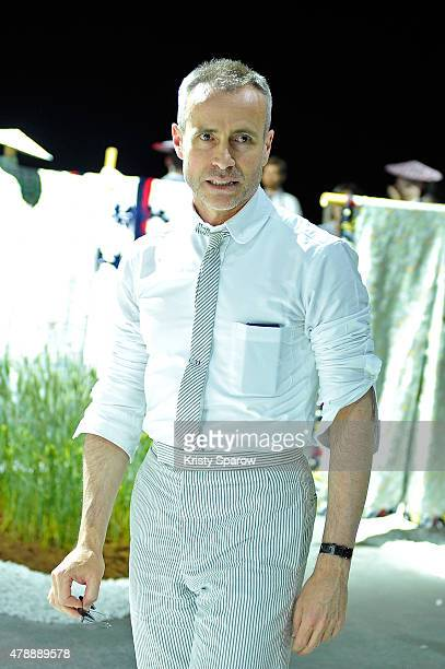 Thom Browne prepares backstage before the Thom Browne Menswear Spring/Summer 2016 show as part of Paris Fashion Week on June 28 2015 in Paris France