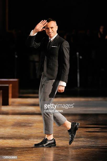Thom Browne walks the runway at the Thom Browne Fall 2012 presentation during MercedesBenz Fashion Week at on February 13 2012 in New York City