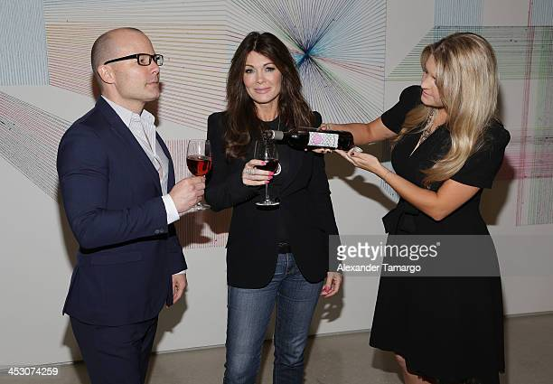 Thom Collins Lisa Vanderpump and Pandora VanderpumpSabo are seen during a private tour of the Perez Art Museum Miami where LVP sangria will make its...