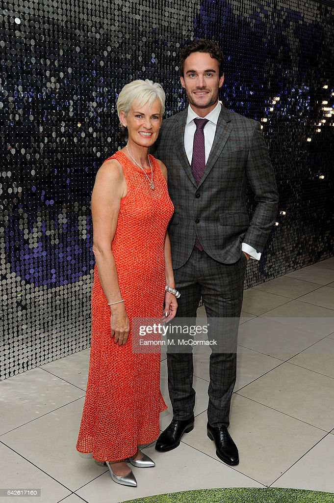 Thom Evans and Judy Murray attend the annual WTA Pre-Wimbledon Party presented by Dubai Duty Free at the Kensington Roof Gardens on June 23, 2016 in London, England.