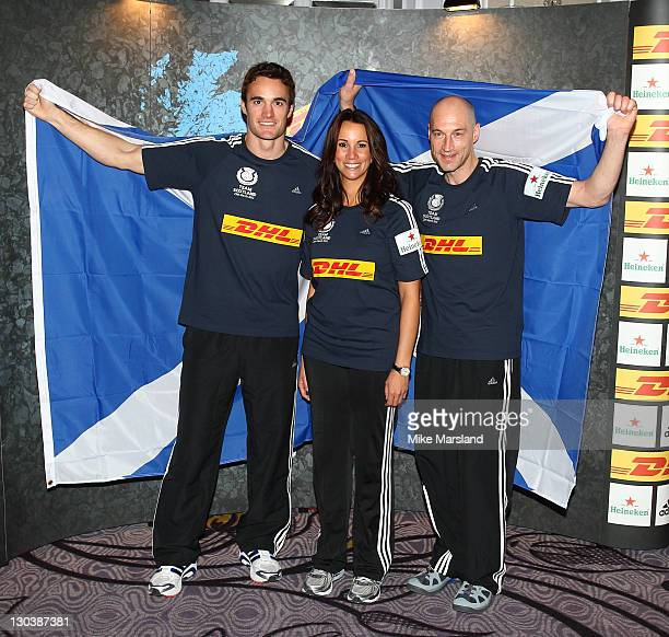 Thom Evans Andrea McLean and Graeme Obree attend 'DHL First Nation Home For Sport Relief' at Hilton Park Lane on October 26 2011 in London England