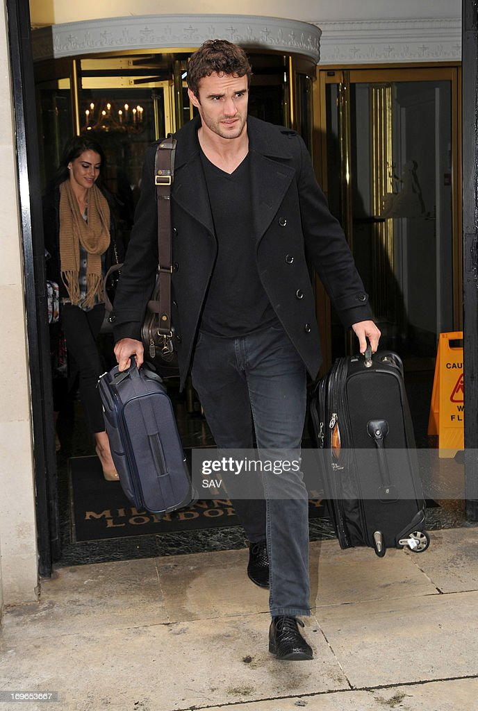 <a gi-track='captionPersonalityLinkClicked' href=/galleries/search?phrase=Thom+Evans&family=editorial&specificpeople=825883 ng-click='$event.stopPropagation()'>Thom Evans</a> pictured leaving the Millennium London Hotel on May 30, 2013 in London, England.