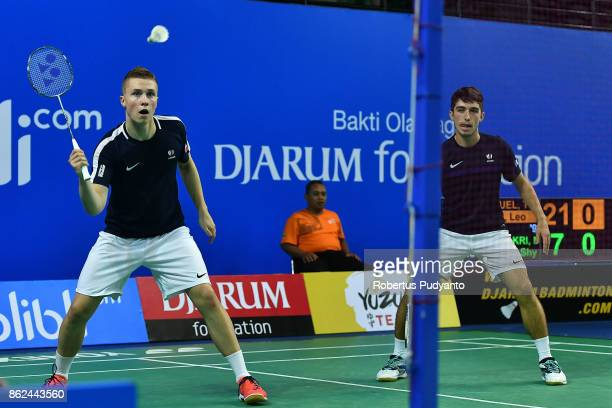 Thom Gicquel and Leo Rossi of France compete against Muhammad hadi Haji Bakri and Jian Shyan Lee of Brunei during Men's Doubles qualification round...