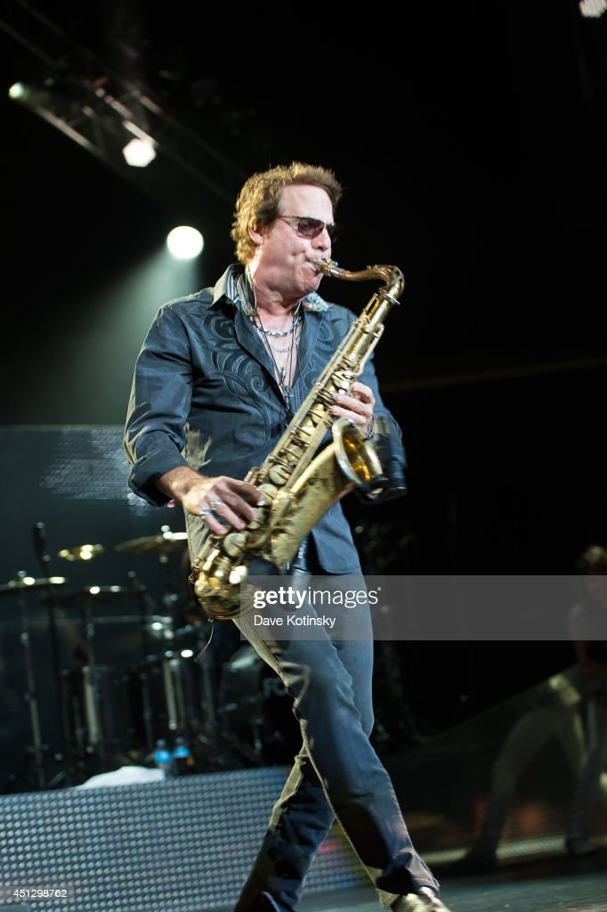 Thom Gimbel of the group Foreigner performs at Prudential Center on June 26, 2014 in Newark, New Jersey.
