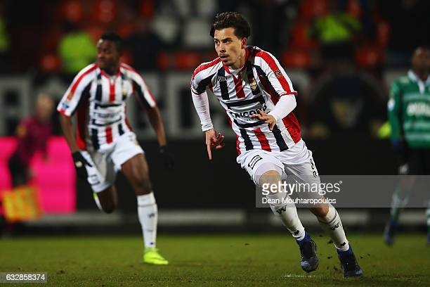 Thom Haye of Willem II celebrates scoring his teams third goal of the game in the final seconds during the Dutch Eredivisie match between Willem II...