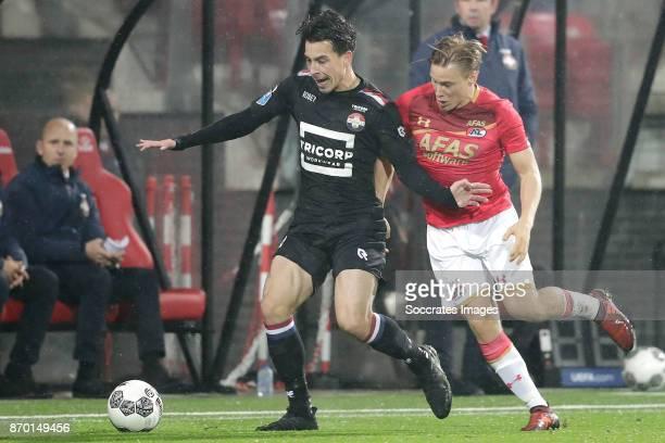 Thom Haye of Willem II Jonas Svensson of AZ Alkmaar during the Dutch Eredivisie match between AZ Alkmaar v Willem II at the AFAS Stadium on November...