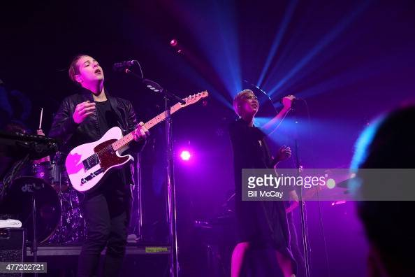 Thom Powers and Alisa Xayalith of The Naked And Famous perform at the Susquehanna Bank Center on March 7 2014 in Camden New Jersey