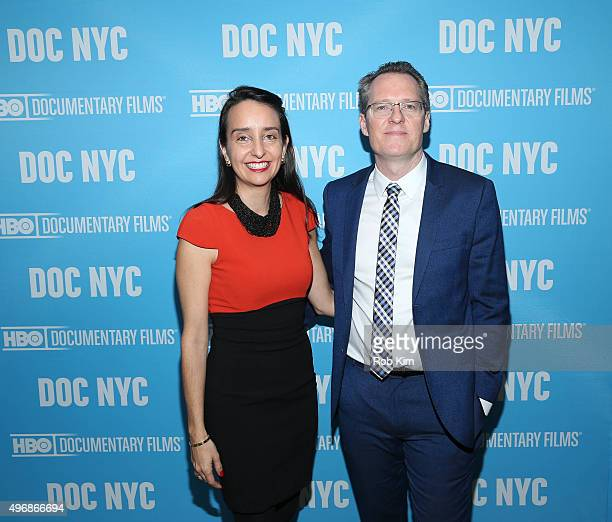 Thom Powers and Raphaela Neihausen of DOC NYC attend 2015 DOC NYC Visionaries Tribute Luncheon at Park Restaurant on November 12 2015 in New York City