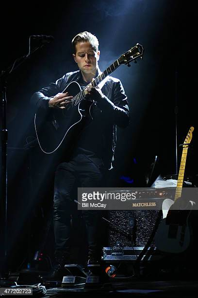 Thom Powers of The Naked And Famous performs at the Susquehanna Bank Center on March 7 2014 in Camden New Jersey