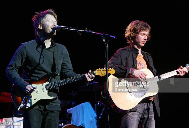 Thom Yorke and Beck during The Concert for Artist's Rights Wiltern Theater at Wiltern Theater in Los Angeles California United States