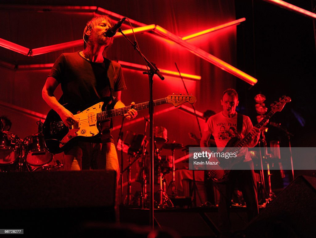 Thom Yorke and Flea of Atoms of Peace perform during the Day 3 of the Coachella Valley Music & Arts Festival 2010 at the Empire Polo Field on April 18, 2010 in Indio, California.