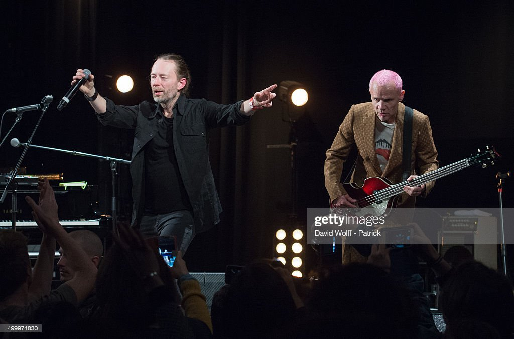 Thom Yorke and Flea perform during Pathway to Paris at Le Trianon on December 4 2015 in Paris France