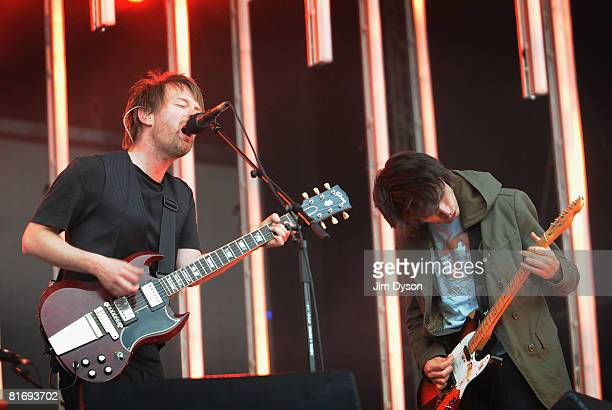 Thom Yorke and Jonny Greenwood of Radiohead perform during their first night at Victoria Park in support of the album 'In Rainbows' on June 24 2008...