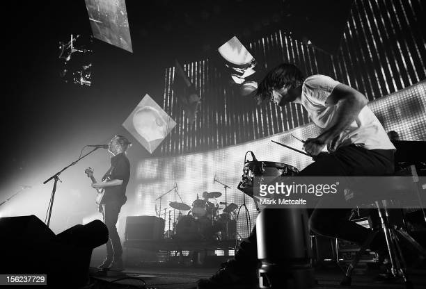 Thom Yorke and Jonny Greenwood of Radiohead perform live on stage at Sydney Entertainment Centre on November 12 2012 in Sydney Australia