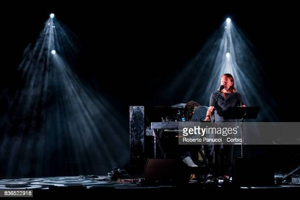Thom Yorke and Jonny Greenwood of the group Radiohead performs on stage on August 20 2017 in Macerata Italy