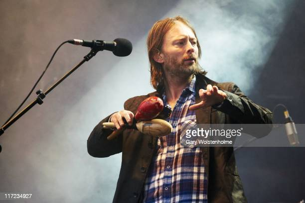 Thom Yorke of Radiohead perform on The Park Stage during the second day of Glastonbury Festival 2011 at Worthy Farm on June 24 2011 in Glastonbury...